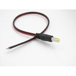 Connettore DC MASCHIO - plug 5.5-2.1 mm con cavo rosso/nero 30 cm