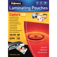 Pouches lucide 125 micron formato 75x105mm Fellowes 53067 100pz