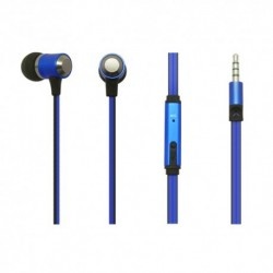 Auricolari Earphones Super Bass in metallo con microfono - Blu