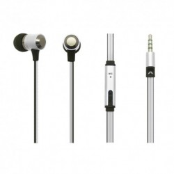 Auricolari Earphones Super Bass in Metallo con Microfono - Silver