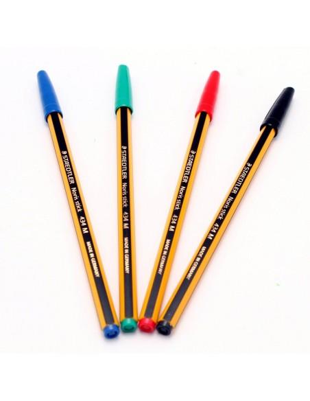 Staedtler - Penna a sfera Noris Stick - Colore blu - Punta 1 mm - Fusto nero/giallo tappo blu - Tratto 0,35 mm -