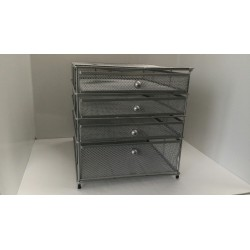 Cassettiera ufficio SIRE a 4 cassetti in rete metallica grigio