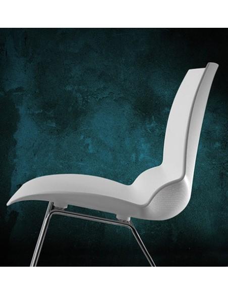 Seduta KALEIDOS di Caimi in tecnopolimero bianco trasparente e struttura in acciaio cromato