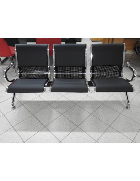 Panca per sala d'attesa, ufficio, studio, 3 posti in acciaio CON CUSCINO IMBOTTITO  - SILVER NERO