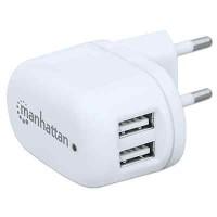 Alimentatore da Rete Italiana 2 porte USB 2.1A Bianco