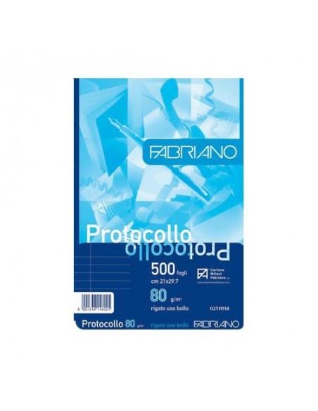 500 Fogli Protocolli rigato uso bollo FABRIANO 29.7x42 cm- 80 g/m
