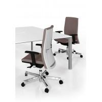 Seduta Semi-Direzionale schienale medio con supporto lombare, leva a gas traslatore e base in nylon nera