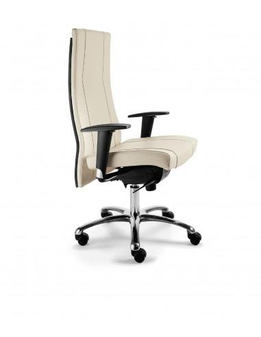 """Seduta direzionale """"Galassia"""" con schienale alto in legno e braccioli regolabili"""