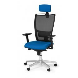 """Seduta semi-direzionale """"Athena Rete Evo"""" con schienale alto in rete nero, supporto lombare"""