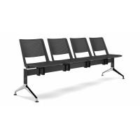"""Panca da 2 posti """"F 01""""  sedili e schienali in polipropilene colorato e basamento cromato nero"""