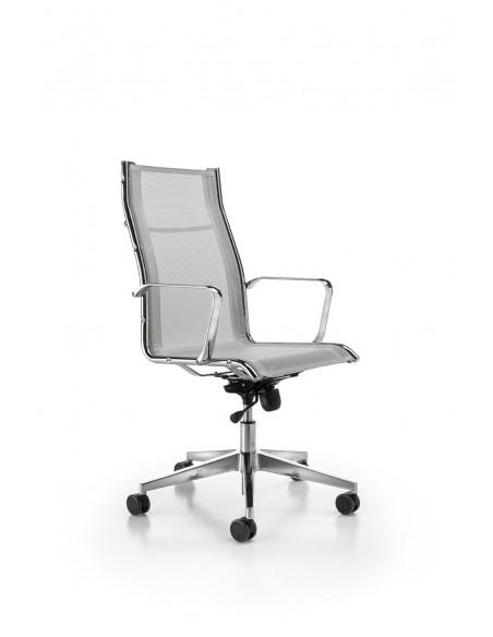 Seduta Semi-Direzionale Argenta Net con braccioli fissi, base in alluminio e ruote gommate