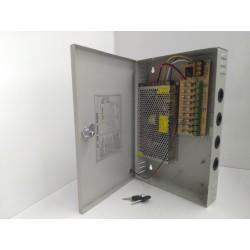 Alimentatore switching 12V 20000ma 20A 18 CANALI CH - Videosorveglianza - BOX ACCIAIO - CASSETTA con chiavi - telecamere