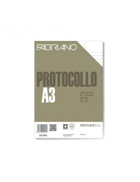 BLOCCO 200 Fogli Protocollo RIGATO USO BOLLO FABRIANO 29.7 x 42 cm- 60 g/m