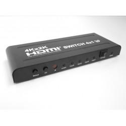 HDMI SWITCH 4 USCITE 4Kx2K 1.4 SUPPORTA 3D 4K 1080P FULL HD 5V CON IR CONTROL TELECOMANDO
