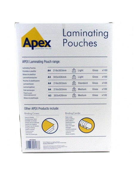 Pouches lucide 125 micron formato 216X303 A4mm Fellowes 53074 100pz