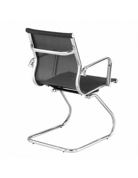 Sedia da Ufficio LAN-6004H Struttura in Metallo Cromato Design Elegante in Rete Nera